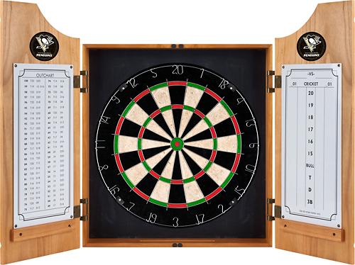 Trademark Global - Pittsburgh Penguins Solid Wood Dart Cabinet - Brown