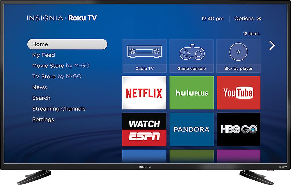 """Insignia™ - 48"""" Class - (47.6"""" Diag.) - Led - 1080p - Smart - Hdtv Roku Tv - Black"""