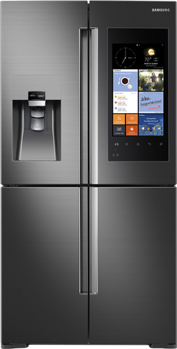 Samsung - Family Hub 22.08 Cu. Ft. Counter-Depth 4-Door Flex Smart French Door Refrigerator With Geek Squad White Glove Experience - Black Stainless Steel largeFrontImage