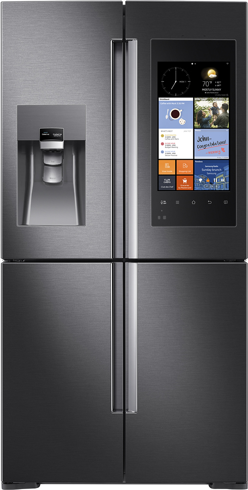Samsung - Family Hub 27.9 Cu. Ft. 4-Door Flex Smart French Door Refrigerator - Black Stainless Steel largeFrontImage