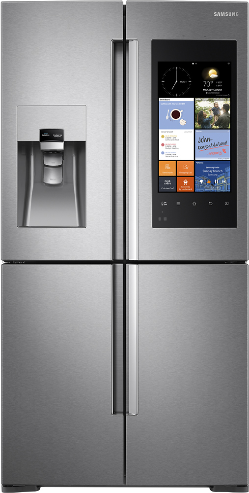 Samsung - Family Hub 27.9 Cu. Ft. 4-Door Flex Smart French Door Refrigerator - Stainless Steel largeFrontImage