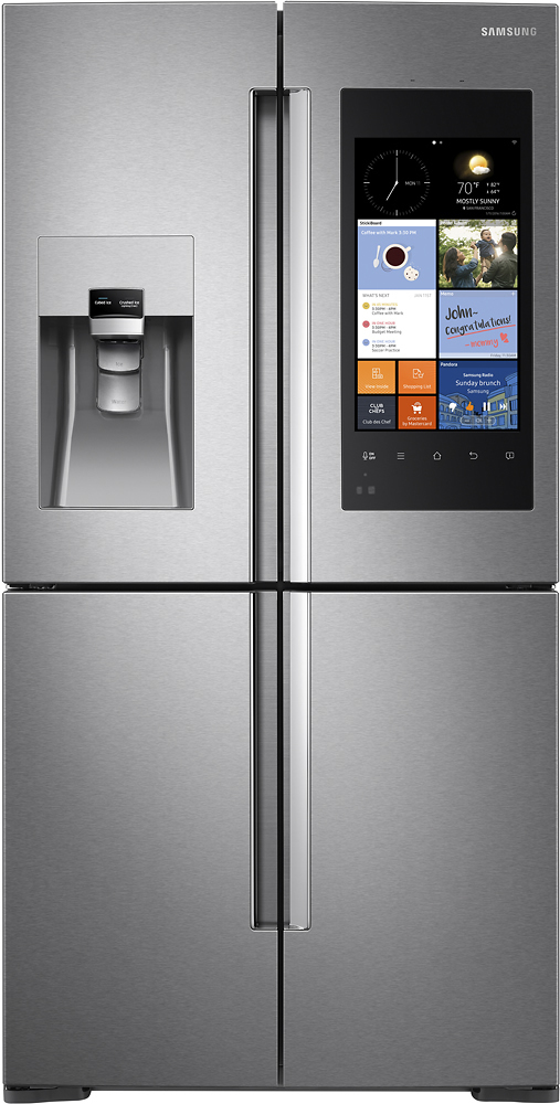 Samsung - Family Hub 22.08 Cu. Ft. Counter-Depth 4-Door Flex Smart French Door Refrigerator - Stainless Steel largeFrontImage