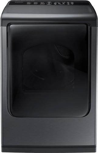 Samsung - 7.4 cu. ft. 12-Cycle Electric Dryer with Steam - Black Stainless Steel