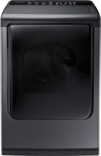 Samsung - 7.4 cu. ft. 12-Cycle Gas Dryer with Steam - Black Stainless Steel