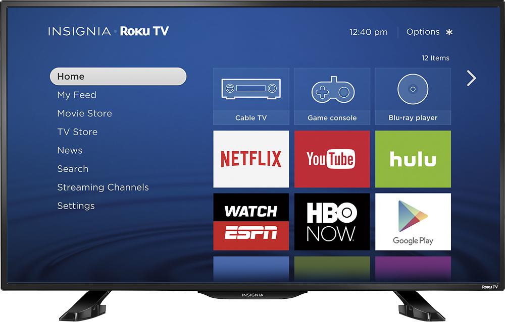 """Insignia™ - 39"""" Class (38.5"""" Diag.) - Led - 1080p - Smart - Hdtv Roku Tv - Black"""