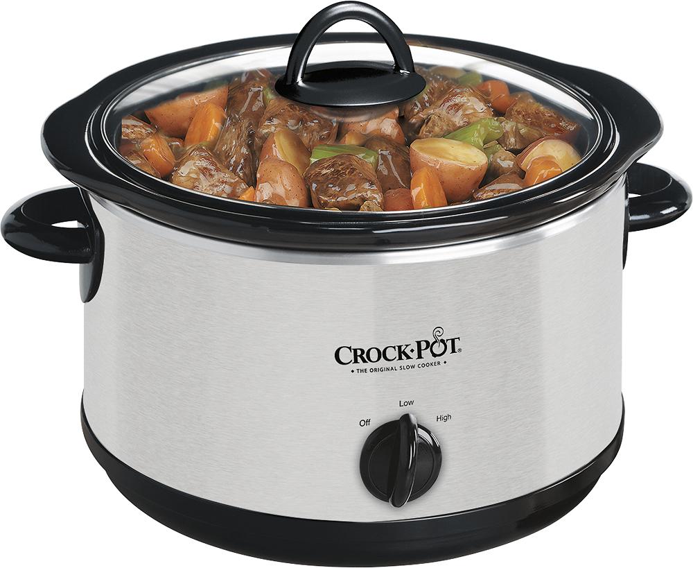 Crock Pot - 4-Quart Slow Cooker - Stainless/Black
