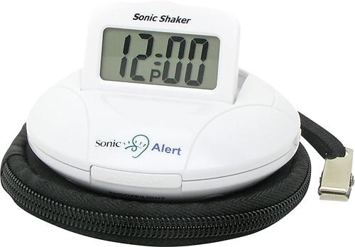Sonic Alert - Sonic Shaker Travel Alarm Clock - White
