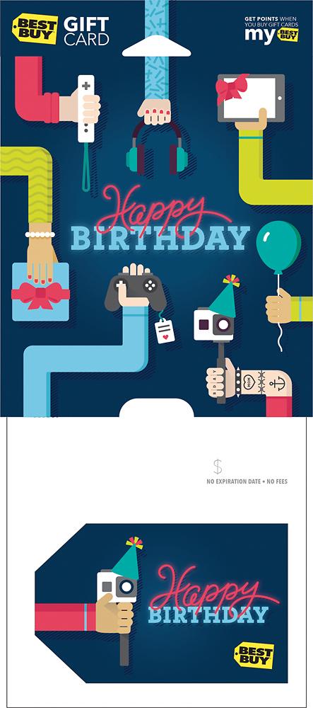 Best Buy Gc - $25 Happy Birthday Selfie Stick Gift Card