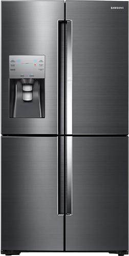 Samsung - Showase 22.04 Cu. Ft. 4-Door Flex French Door Counter-Depth Refrigerator - Black Stainless Steel