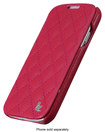 Jisoncase - Quilted Folio Case For Samsung Galaxy S4 Cell Phones - Rose