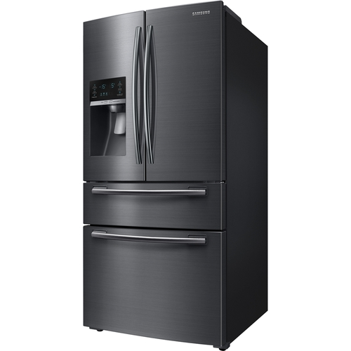 Samsung - 24.73 Cu. Ft. 4-Door Flex French Door Refrigerator - Black Stainless Steel