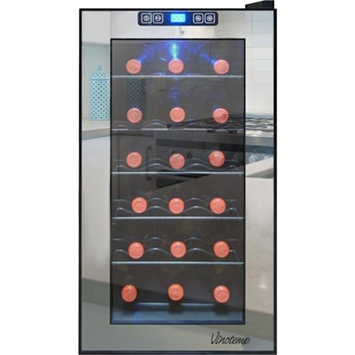 Vinotemp - Eco Series Mirrored 18-bottle Wine Cooler - Black/stainless Steel