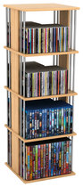 Atlantic - Typhoon 216-CD/144-DVD 2-Sided Spinning Multimedia Storage Unit - Maple/Silver