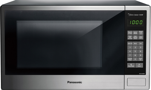 Panasonic - 1.3 Cu. Ft. Mid-Size Microwave - Stainless steel/black/silver (Silver/Black/Silver)