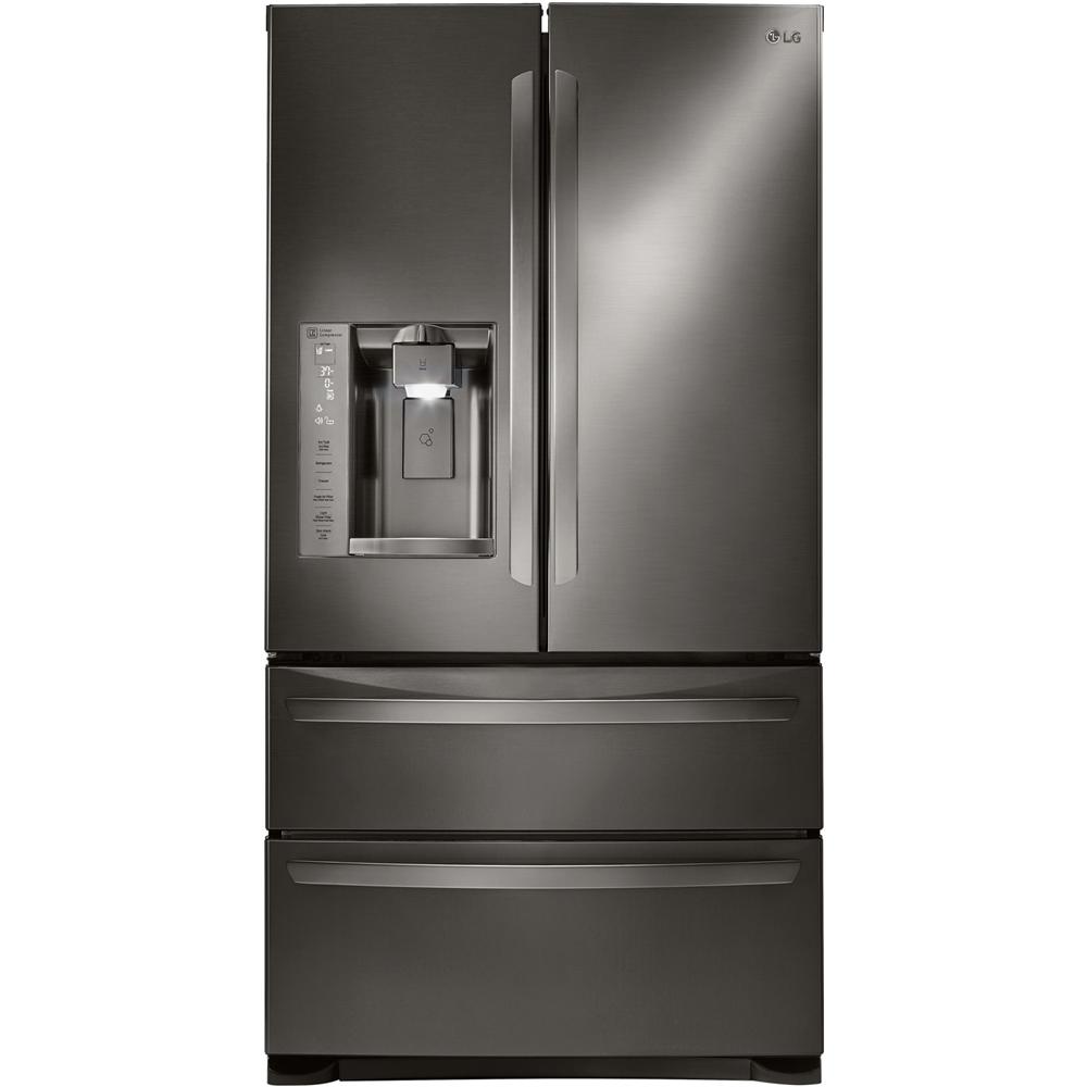 LG - 26.7 Cu. Ft. 4-Door French Door Refrigerator - Black stainless steel