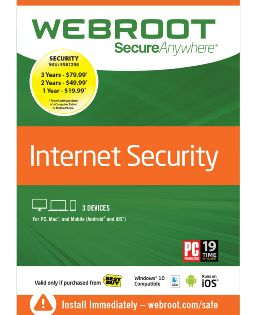Webroot Secure Anywhere - 3-Device - 3 Year Subscription - Android/iOS - Mac/Windows [Download]