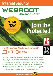 Webroot Secure Anywhere - 3-Device - 6 Months Subscription - Android/iOS - Mac/Windows [Download]
