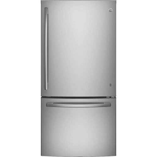 GE - 24.9 Cu. Ft. Bottom-Freezer Refrigerator - Stainless steel
