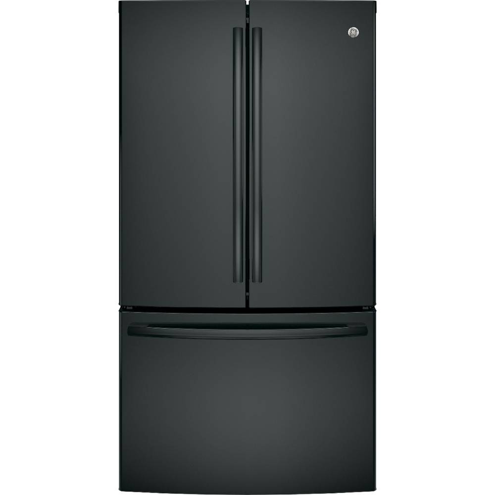 Ge 285 Cu Ft French Door Refrigerator High Gloss Black At