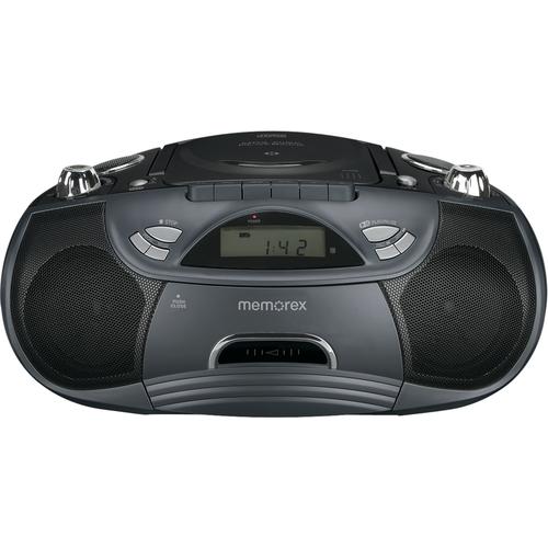 Memorex - FlexBeats CD/Cassette Boombox - Black