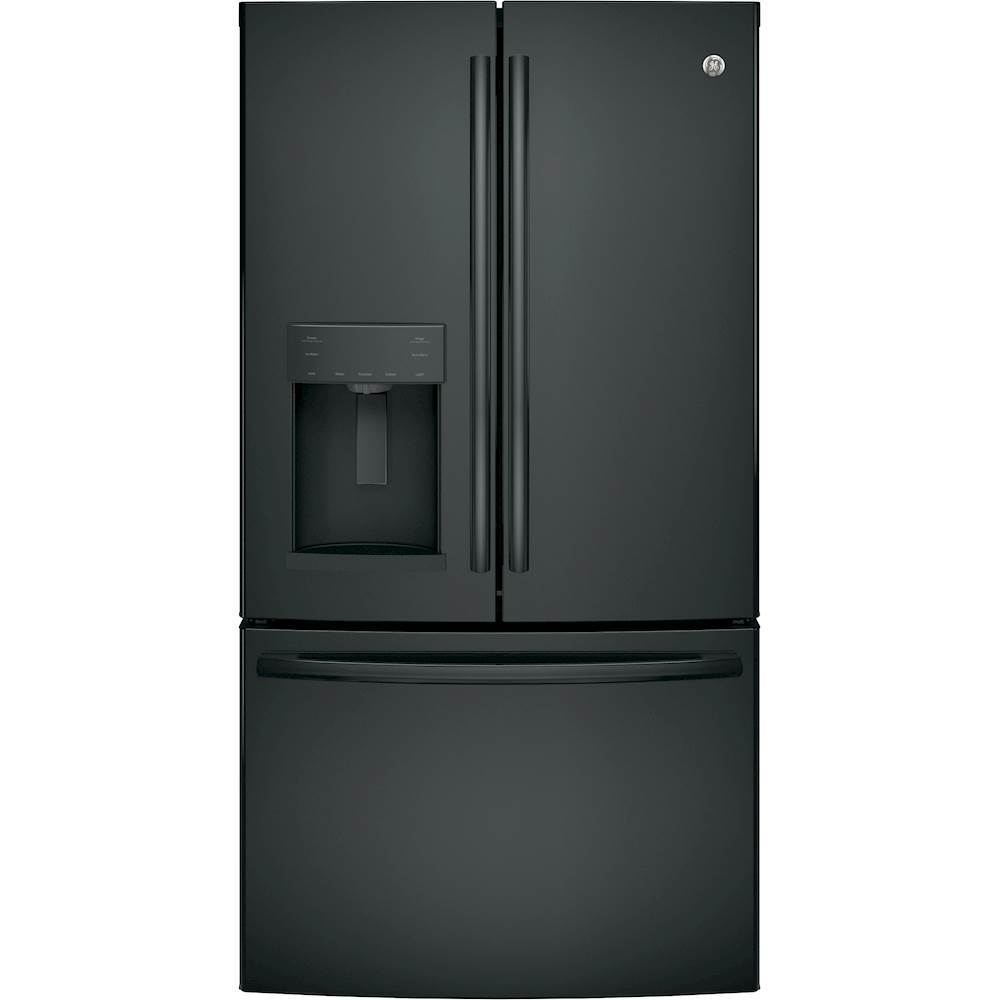 Ge 258 Cu Ft French Door Refrigerator High Gloss Black At