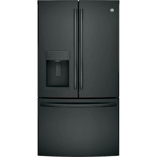 GE - 27.8 Cu. Ft. French Door Refrigerator - High gloss black