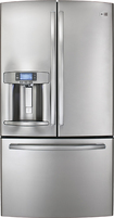 GE - Profile 28.6 Cu. Ft. French Door Refrigerator with Thru-the-Door Ice and Water - Stainless-steel