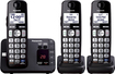 Panasonic - KX-TGE233B DECT 6.0 Expandable Cordless Phone System with Digital Answering System - Black