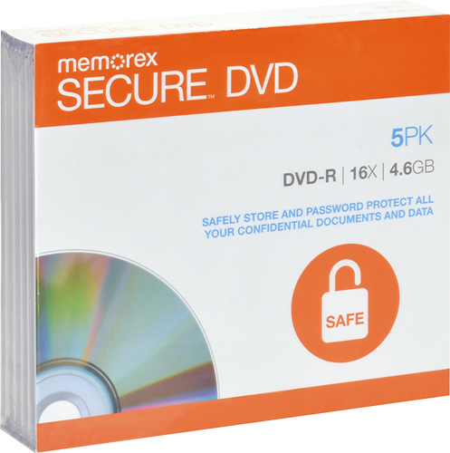 Memorex - Secure 5-Pack 16x DVD-R Discs with Slimline Jewel Cases - White