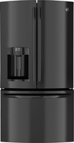 GE - 28.6 Cu. Ft. French Door Refrigerator with Thru-the-Door Ice and Water - Black