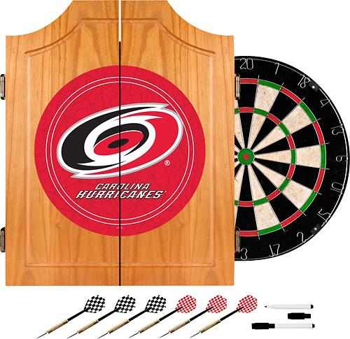 Trademark Games - Carolina Hurricanes Pine Dart Cabinet Set - Brown