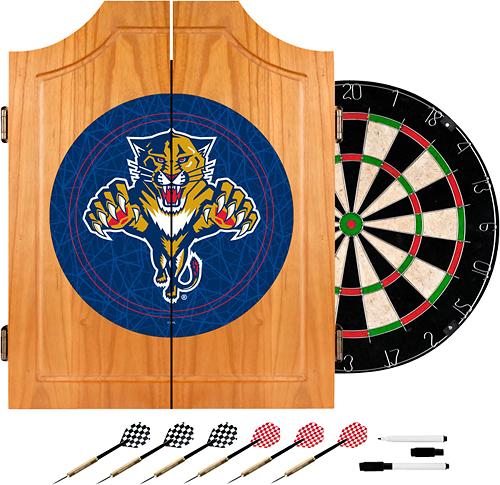 Trademark Games - Florida Panthers Pine Dart Cabinet Set - Brown