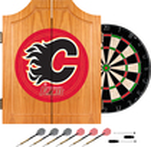 Trademark Games - Calgary Flames Pine Dart Cabinet Set - Brown