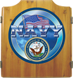 Trademark Games - U.S. Navy Dart Cabinet Set - Brown
