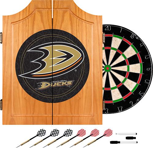 Trademark Games - Anaheim Ducks Pine Dart Cabinet Set - Brown