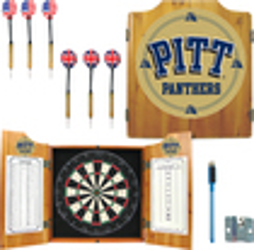 Trademark Games - Pittsburgh Solid Pine Dart Cabinet Set - Brown