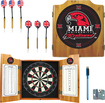 Trademark Games - Miami University of Ohio Solid Pine Dart Cabinet Set - Brown