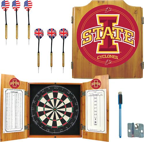 Trademark Games - Iowa State Pine Dart Cabinet Set - Brown
