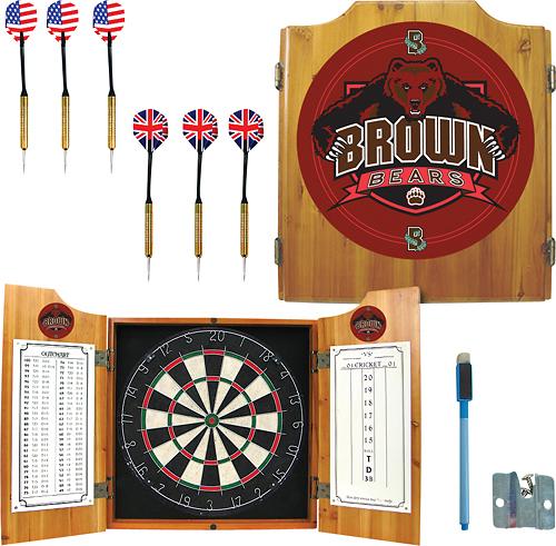 Trademark Games - Brown University Pine Dart Cabinet Set - Brown