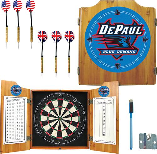 Trademark Games - DePaul University Pine Dart Cabinet Set - Brown