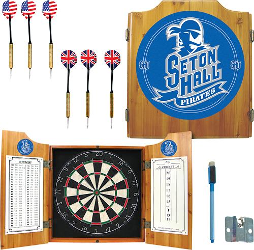 Trademark Games - Seton Hall Pine Dart Cabinet Set - Brown