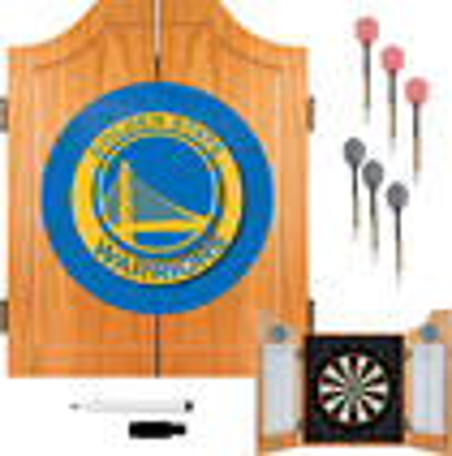 Trademark Games - Golden State Warriors Solid Pine Dart Cabinet Set - Brown