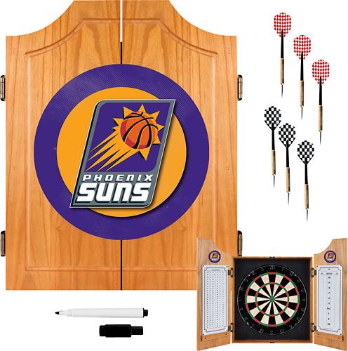 Trademark Games - Phoenix Suns Solid Pine Dart Cabinet Set - Brown