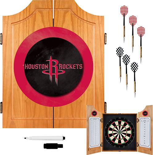 Trademark Games - Houston Rockets Solid Pine Dart Cabinet Set - Brown