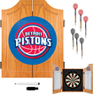 Trademark Games - Detroit Pistons Solid Pine Dart Cabinet Set - Brown