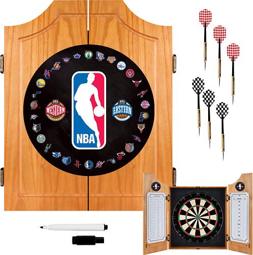 Trademark Games - Nba Solid Pine Dart Cabinet Set - Brown