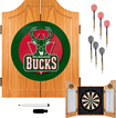 Trademark Games - Milwaukee Bucks Solid Pine Dart Cabinet Set - Brown