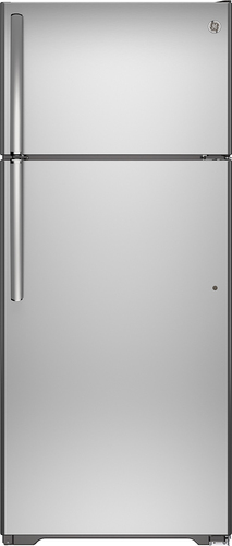 GE - 17.5 Cu. Ft. Top-Freezer Refrigerator - Stainless steel (Silver)