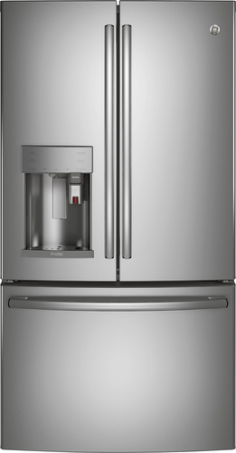 GE - Profile Series 22.2 Cu. Ft. French Door Counter-Depth Refrigerator with Keurig Brewing System - Stainless steel (Silver)