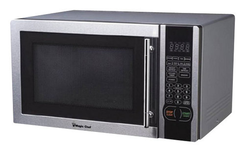 Magic Chef - 1.1 Cu. Ft. Mid-Size Microwave - Stainless-Steel